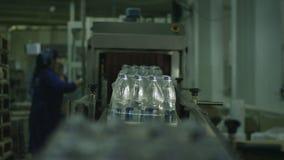 Los paquetes del agua mineral se mueven en transportador en taller almacen de video