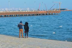 Los pares cariñosos en la costa Imagen de archivo