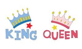 Los pares coronan la mano del rey y de la reina dibujada para los pares de la camiseta o adornan vector Fotografía de archivo libre de regalías