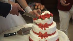 Los pares cortaron el pastel de bodas almacen de metraje de vídeo
