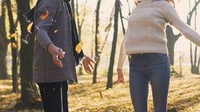 Los pares de adultos jovenes auténtico disfrutan y lanzan las hojas coloridas en el aire metrajes