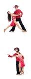 Los pares de bailarines aislados en el blanco Imagen de archivo
