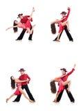 Los pares de bailarines aislados en el blanco Fotografía de archivo