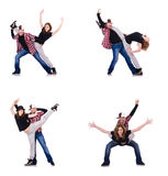Los pares de bailarines que bailan danzas modernas Fotografía de archivo