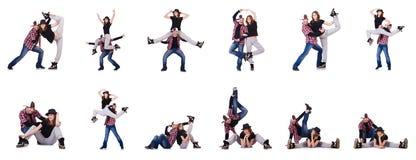 Los pares de bailarines que bailan danzas modernas Imágenes de archivo libres de regalías