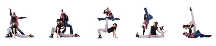 Los pares de bailarines que bailan danzas modernas Imagenes de archivo