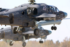 Los pares de helicópteros militares de Kamov Ka-52 de la fuerza aérea rusa que se preparan para Victory Day desfilan en la base d Fotos de archivo libres de regalías