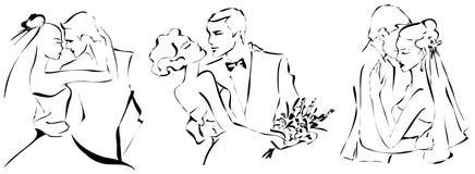 Los pares de la boda fijaron, novia y novio felices, silueta monocromática, Fotos de archivo libres de regalías