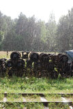 Los pares de la rueda del ferrocarril están debajo de la lluvia imagen de archivo