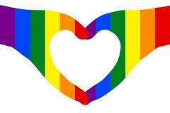 Los pares de manos en corazón forman el fondo transparente mostrado en el blanco pintado con colores del arco iris Vector la ilus libre illustration