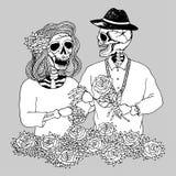 Los pares del amante azucaran el día de los muertos, mano del cráneo del vector dibujada libre illustration