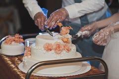 Los pares dividieron la torta para las huéspedes 4319 Fotografía de archivo libre de regalías