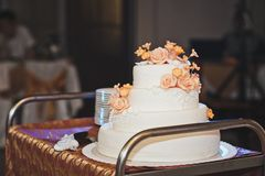 Los pares dividieron la torta para las huéspedes 4317 Fotografía de archivo
