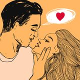 Los pares en amor, mujer bonita y hombre quieren besarse Vector el ejemplo del estilo del arte pop del día del ` s de la tarjeta  Foto de archivo