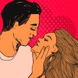 Los pares en amor, mujer joven y hombre quieren besarse Vector el ejemplo del estilo del arte pop del día del ` s de la tarjeta d Fotografía de archivo libre de regalías