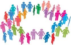 Los pares escogen la red social de los media de la reunión de la gente Imagen de archivo libre de regalías