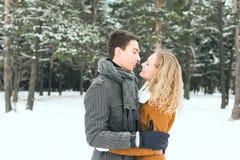 Los pares felices al aire libre en el amor que presenta en invierno frío resisten Fotos de archivo libres de regalías