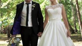 Los pares felices de recienes casados están caminando durante un paseo que se casa almacen de metraje de vídeo