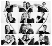 Los pares felices jovenes que hacen el corazón forman con los brazos Fotografía de archivo libre de regalías