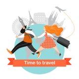 Los pares felices viajan juntos Personajes de dibujos animados con prisa del equipaje al avión Imagen de archivo libre de regalías