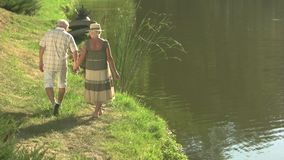 Los pares graciosamente de mayores acercan al agua metrajes
