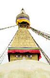 Los pares grandes de ojos representan la sabiduría y la compasión, Swayambhunath Stupa Nepal Imágenes de archivo libres de regalías