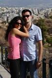 Los pares hacen la visita tur?stica de excursi?n en Atenas Imagen de archivo