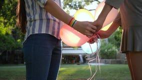 Los pares homosexuales con los globos y la pulsera inflables LGBT llevan a cabo las manos en contraluz almacen de video