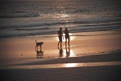 Los pares irreconocibles recorren en la puesta del sol Foto de archivo