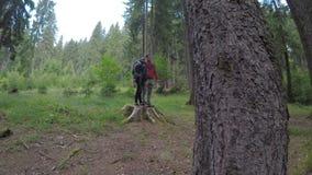 Los pares jovenes de los caminantes con las mochilas que se sientan en un árbol pisan fuerte disfrutando de la belleza y del sile almacen de video