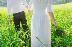 Los pares jovenes en el amor que camina en la primavera colocan llevar a cabo las manos Foto de archivo