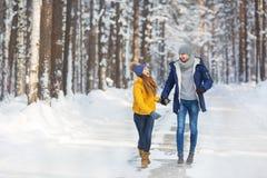 Los pares jovenes en ropa brillante caminan y laught en un bosque Fotos de archivo libres de regalías