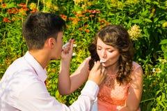 Los pares jovenes en una comida campestre romántica en un prado del verano Fotos de archivo