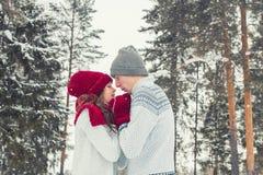 Los pares jovenes felices en el amor que abraza en invierno parquean cara a cara cerca de uno a Fotos de archivo libres de regalías