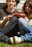 Los pares jovenes leyeron la guía turística que se sentaba cerca del coche Imagenes de archivo