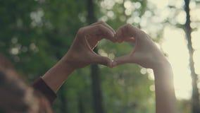 Los pares jovenes que hacen el corazón forman con las manos en la puesta del sol encendido en la puesta del sol en el parque almacen de video