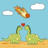 Los pares lindos de la historieta de dinosaurios en amor durante meteorito pegan el ejemplo divertido del concepto stock de ilustración