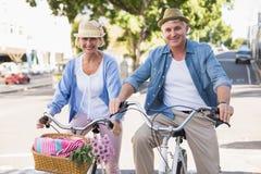 Los pares maduros felices que van para una bici montan en la ciudad Foto de archivo