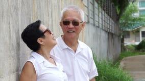 Los pares mayores asiáticos relajan vacaciones alrededor de campo metrajes