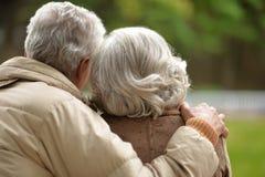 Los pares mayores con el suyo apoyan el abarcamiento en parque del otoño Imágenes de archivo libres de regalías