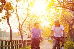 Los pares mayores en ciclo montan en el parque Imágenes de archivo libres de regalías