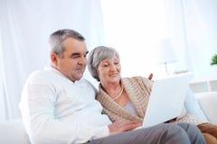 Los pares mayores felices utilizan el ordenador fotografía de archivo libre de regalías