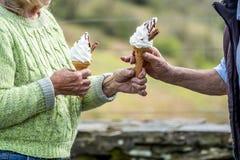 Los pares mayores gozan de su helado en la naturaleza imágenes de archivo libres de regalías
