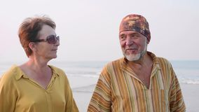 Los pares mayores que caminaban en la playa y que hablaban, steadicam tiraron almacen de video