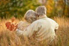 Los pares mayores que se sientan con el suyo apoyan el abarcamiento en parque del otoño Fotografía de archivo