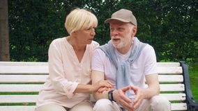 Los pares mayores se sientan en banco en la relajación de charla del parque Familia feliz que disfruta de vacaciones de verano al almacen de metraje de vídeo