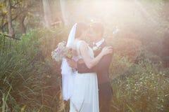 Los pares románticos del recién casado con los ojos cerraron el abarcamiento en parque Foto de archivo libre de regalías