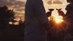Los pares románticos que llevan a cabo las manos tintinean los vidrios con el vino en la puesta del sol foto de archivo libre de regalías