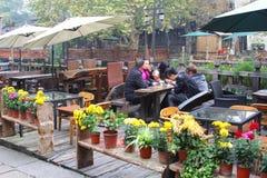 Los pares se divierten en una terraza acogedora en la ciudad Wuzhen, China del agua Imagen de archivo libre de regalías