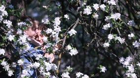 Los pares sensuales encontraron privacidad en huerta de cereza floreciente debajo de árbol por completo de pequeñas flores blanca metrajes